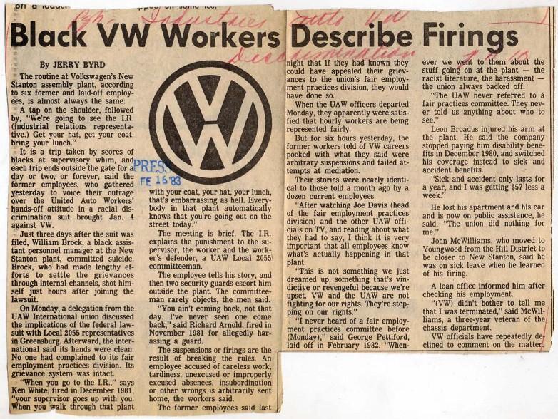 Black VW Workers Describe Firings Newspaper Clipping