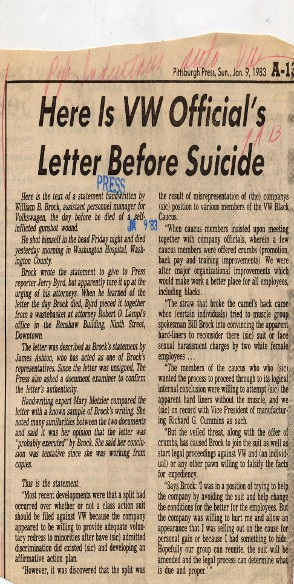 Here is VW Official's Letter Before Suicide Newspaper Clipping