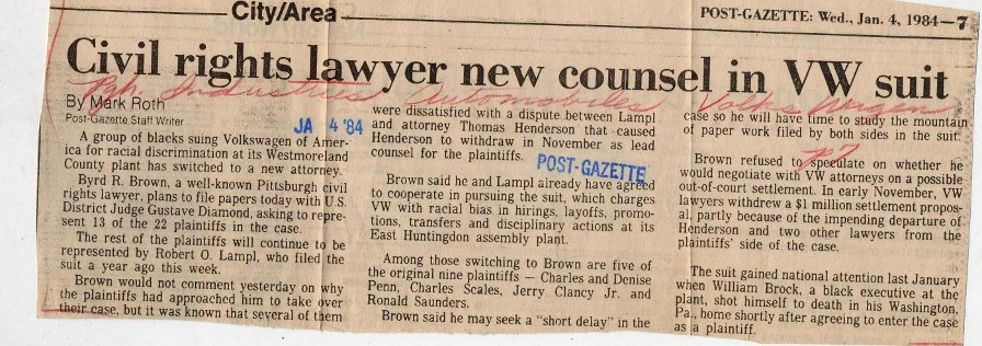 Civil Rights Lawyer New Counsel in VW Suit Newspaper Clipping